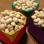 豆まきには折り紙箱で恵方巻きは手巻き寿司スタイルで節分を過ごしました