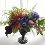 【フラワーアレンジメント】紫陽花をクラシカルな花器にアレンジ(ガーベラの使い方)