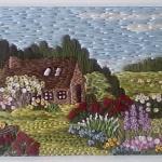 【刺繍】ヨーロッパ風のオリジナル風景、途中で中断している作品を完成させなきゃ!