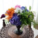 【フラワーアレンジメント】紫陽花をクラシカルな花器で洋風アレンジに!