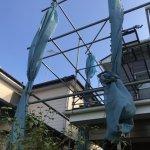 【屋根・外壁塗装工事】11日目 塗装工事終了し足場は台風対策してもらいました