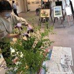 【花装飾】水彩画教室作品展での初日から最終日までの花の様子