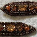 【ビーズ刺繍ブローチ】スワロフスキークリスタルと琥珀を使って秋色ブローチ作りました!